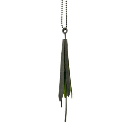 Oxidized silver botanical jewellery pendant with green interior strings along a silver chain like a botanical charm