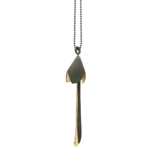 bell flower pendant in oxidized and textured sterling silver and 24K gold leaf.