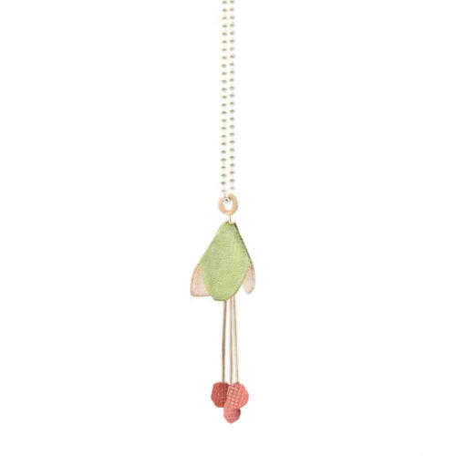 fuchsia pendant in bleached silver and enamel paint featuring an abstracted flower with dangling pistils