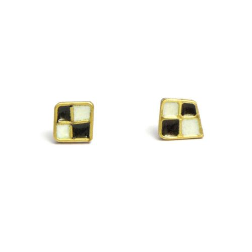 checkered earring in silver, 18k gold and enamel