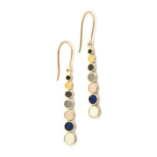 seed pod earrings featuring sterling silver, 18k gold and vitreous enamel dangling drops