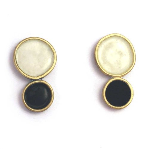black and white earrings in silver, 18k gold and enamel