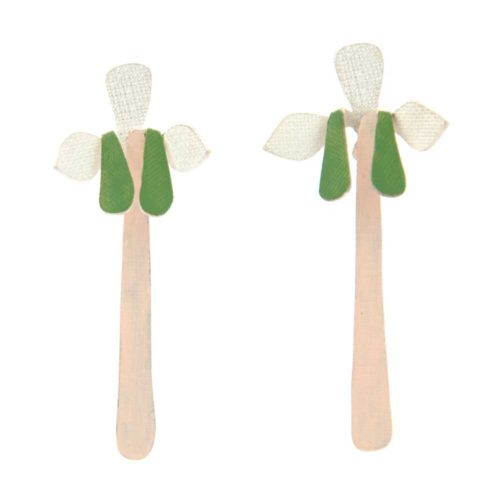 orchid dangle and drop earrings featuring stylised blooms with dangling pistils in silver, green and pink