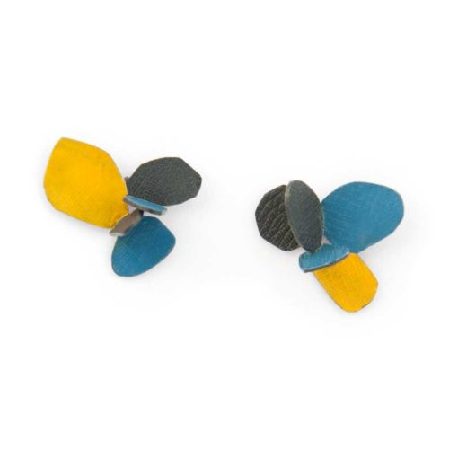 Violet bloom earrings made of oxided silver and bright blue and yellow enamel paint featuring flower petals and abstract botanical motifs