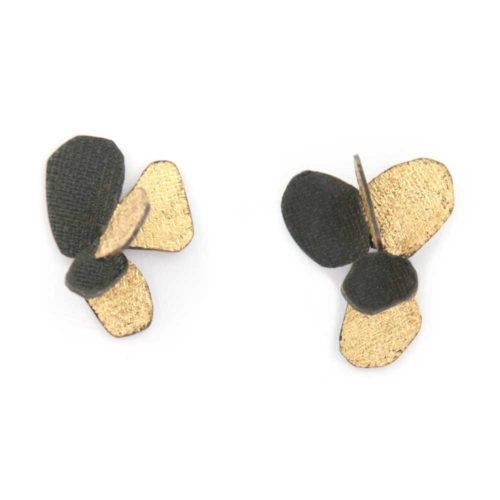 Black and gold violet earrings made of oxided silver and 24K gold leaf featuring flower petals and abstract botanical motifs
