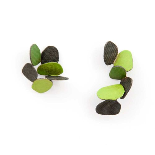Hive earrings made of oxidized sterling silver and green enamel paint featuring cascading butterflies.