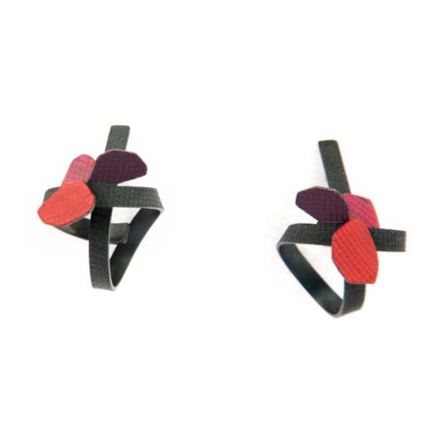botanical contemporary jewelry hibiscus earrings featuring curved and folded oxidized sterling silver and fuchsia, red and purple enamel paint