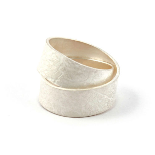 Wide double leaf wrap ring of bleached silver with leaf imprint that wraps around your finger.