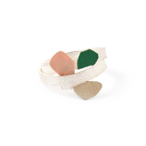 flower bud ring featuring abstract petals budding on a twine, in sterling silver and enamel paint.