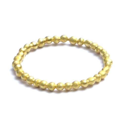 Handmade pearlwire organic golden ring featuring tiny golden pellets soldered together