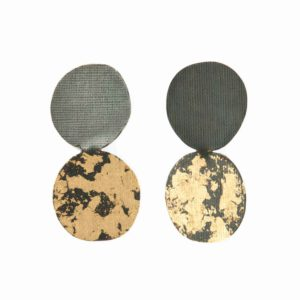 Oxidized silver geometric earrings with leaf gold
