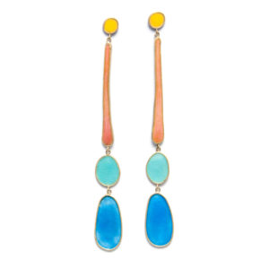candystore; extra long art nouveau earrings in pastel colors, made in silver, gold and enamel