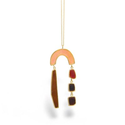 rainbow necklace with colors falling out in pink and brown enamel