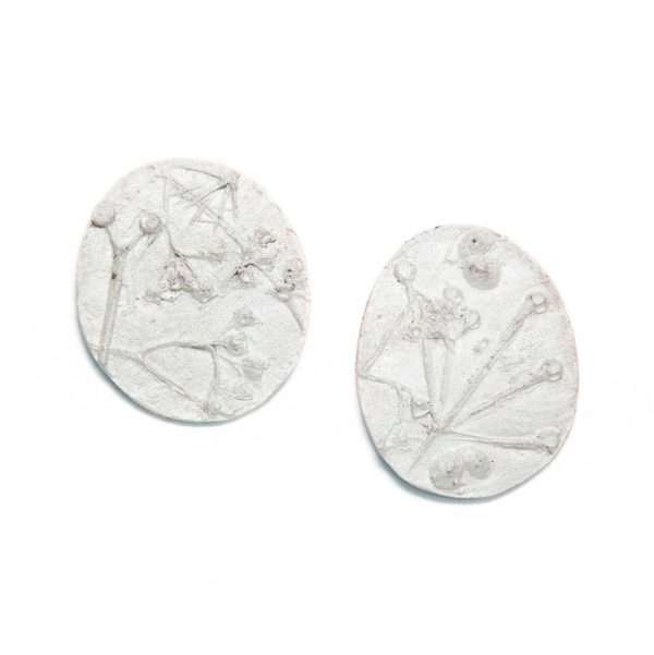 plant imprint earrings, casted silver earings with a rough texture in the shape of plants