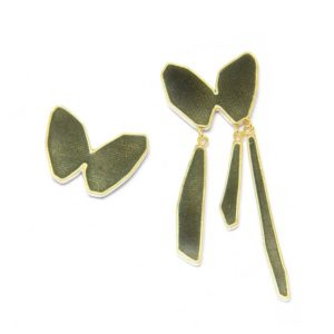 mismatched grey butterfly earrings in silver gold and enamel