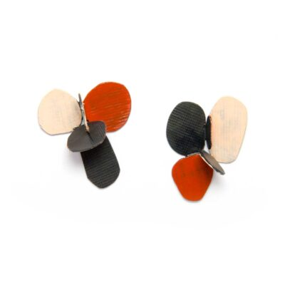 colorful botanical violet earrings in oxidized silver and red pink paint