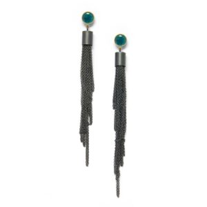 oxidized silver long strand seaweed earrings, seagreen enamel dot with chain hanging underneath