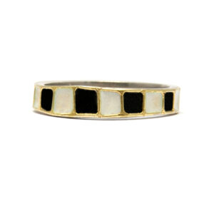black and white checkered wedding ring in silver gold and enamel